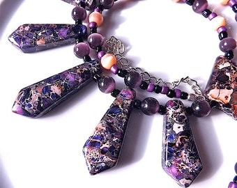 Gem stone necklace, Sea sediment jasper purple and mauve with opal beads.