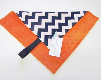 Orange and Blue Mini Minky Blanket, Lovey Blanket, with Pacifier Loop, White and Navy Chevron, Orange Minky Dimple Dot