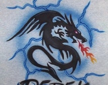 Dragon Airbrushed t shirt  personalized  airbrush t-shirt all sizes