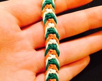 Fishknot Macrame Bracelet, Orange White and Green Adjustable