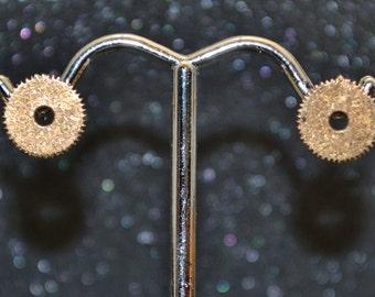 Bronze Small Gear Stud Earrings - Minimalist steampunk post earrings, no nickel, edgy industrial style with  unisex appeal.
