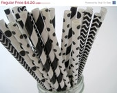 20% OFF - 25 Black and White Straw Mix -Dot, Stripe, Chevron - ships less than 24 hours