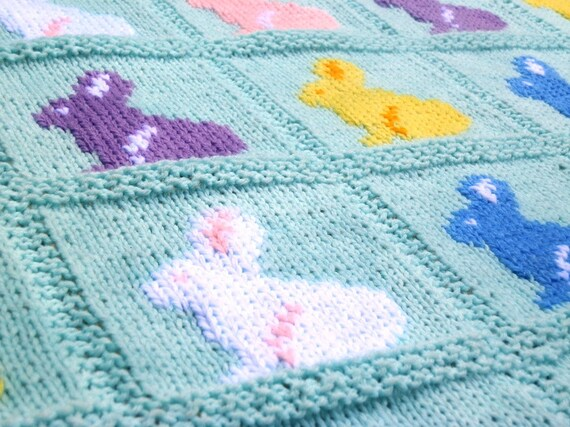 Bunny Blanket Knitting Pattern : Knitting Pattern Bunny Blanket Rabbit Blanket Easter