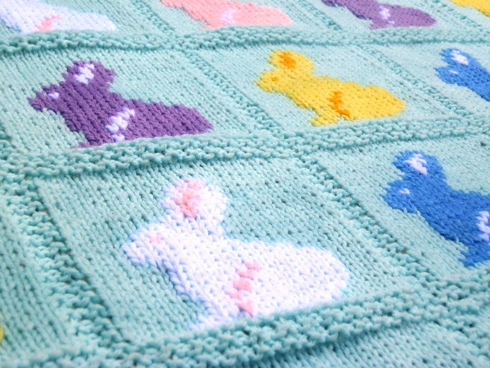 Knitting Pattern Bunny Blanket Rabbit Blanket Easter