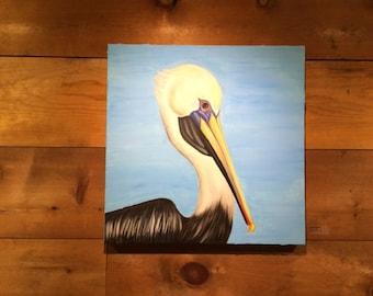 Pelican on textured aqua background