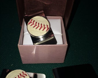 Major League Baseball Game Used Money Clip with COA.   Made from game used certified Baseball