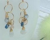 Multi Gemstone Earrings // Wire Wrapped Gemstone Earrings // Dangle Earrings // Gold Filled Earrings