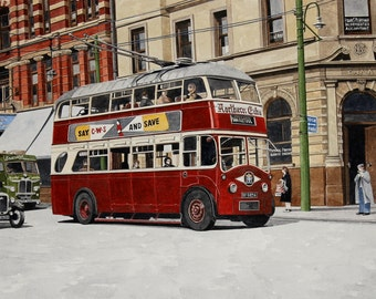 West Hartlepool Daimler CMT4 trolleybus in Church Street original painting by Malcolm Davies