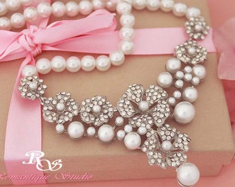 Bridal pearl necklace, Wedding jewelry,  Pearl rhinestone Wedding necklace, Bridal jewelry, Bib necklace  2122