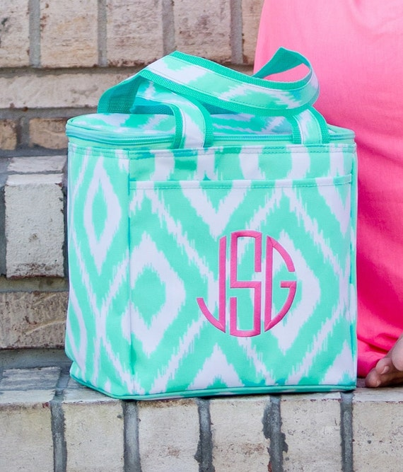 Personalized Cooler Lunch Bag Ikat Chevron Diamond Mint Green 10″ Beach  Pool Insulated Thermal Tote Monogrammed Embroidered lunch bag 15c6783a38f97