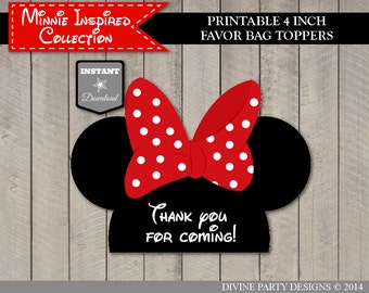 INSTANT DOWNLOAD Red Girl Mouse Printable 4 Inch Wide Favor Bag Toppers  / Red Girl Mouse Collection / Item #1926