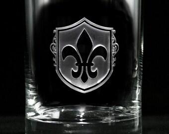 Fleur De Lis Whiskey Scotch Glass Set, French, Paris Theme Decor (SET OF 2)