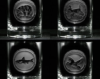 Engraved Wildlife Whiskey Scotch Glasses, Gifts for Men