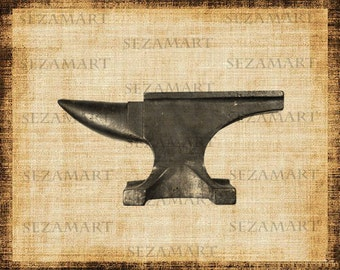 INSTANT DOWNLOAD - Anvil - Digital Collage Sheet, Scrapbooking, Burlap Fabric Transfer to Tea Towels, Download and Print