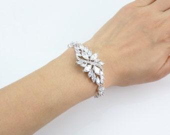 BERKLEIGH - Bridal Cuff Bracelet, Wedding Swarovski White Or Ivory Pearl Bracelet, Crystal Bracelet, Rhinestone Cuff, Vintage Bracelet