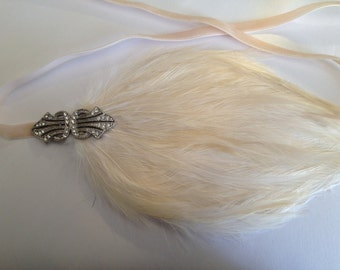 Ivory 1920s headband, ivory feather headpiece, bridal fascinator  silver art deco swarovski  wedding headpiece bridesmaids flapper