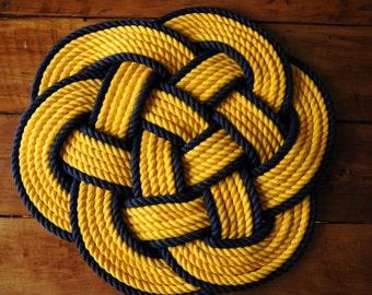 Golden Yellow and Navy Cotton Bath Mat - Thump Mat - Cotton Rope Rug - Rope Rug - Yellow Cotton Rope Rug - 24 Inch Diameter