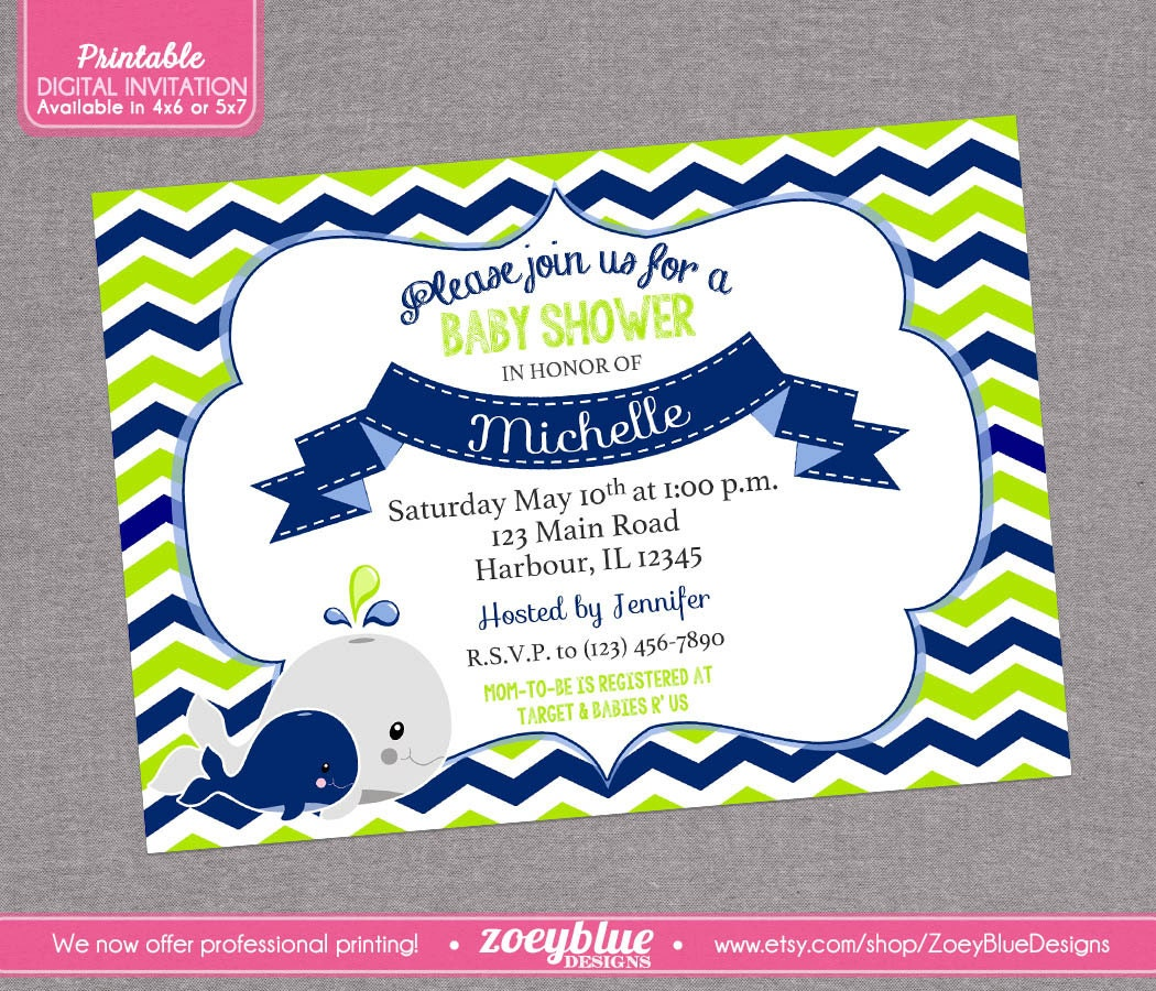 whale baby shower invitation boy baby shower by zoeybluedesigns