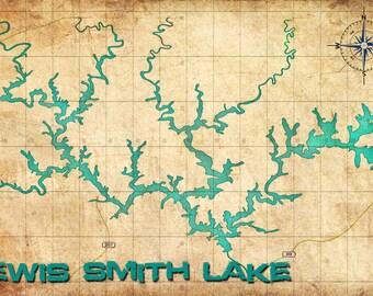 Vintage Map - Smith Lake Print - Pick a Size