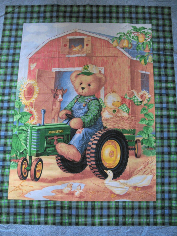 John Deere Teddy Bears : John deer teddy bear fabric panel tractor wall hanging quilt