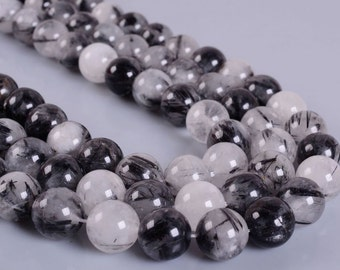 0465 12mm Black tourmaline rutilated quartz round loose beads 15.5""