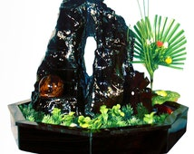 Tabletop water fountain made from obsidian with artificial plants, spinning ball and mill | interior air freshener and relaxing waterfall