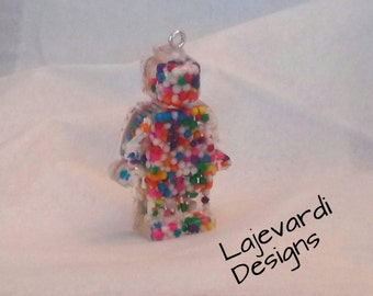 Sweet on lego..candy lego mini fig charm/pendant
