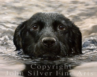Aceo Dog Print. Black Labrador Retriever. From an Original Oil Painting. Personally signed by Award Winning Artist JOHN SILVER. BL003AC