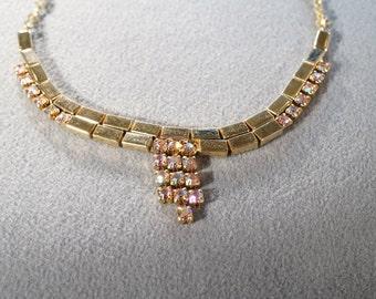 Vintage gold tone and aurora borealis rhinestone bib style necklace   M10