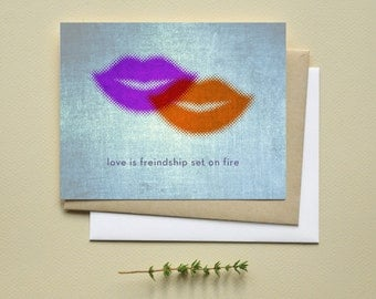 Lesbian romance greeting card by I'm Different Press: Love is friendship set on fire