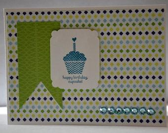 "Map ""Happy birthday cupcake!"" green"