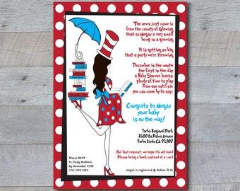 Dr Seuss Baby Shower Invitation - Custom Printable - Cat in the Hat, Pregnant Girl Silhoutte, books, library, dr seuss, polka dot, read, mom