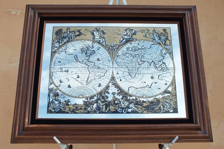 25 X 31large Mirrored Wood Frame Old World Map Vintage Artwork