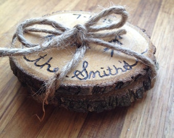 "Rustic Wedding Gift - Custom Wedding Gift - Little Trees - Set of 2 Custom Wood Burned Wedding Gift - Wood Coasters - 3.5"" Diameter"