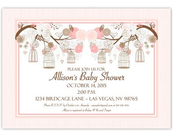 Birdcage Baby Shower Invitation, Peach Birdcage Baby Shower Invite, Birdcage Invitation, Digital Design, CUSTOM, 4x6 or 5x7 size, YOU print