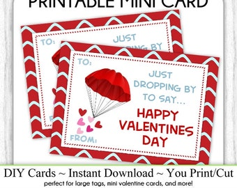 Parachute Valentine's Day Printable Cards, Valentine Mini Cards, DIY, You Print, Parachute Valentine Printable Cards, Instant Download,