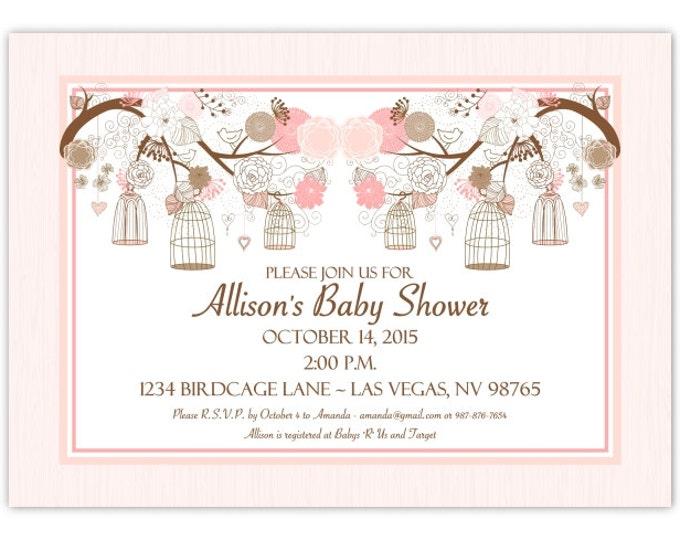 Birdcage Baby Shower Invitation, Peach Birdcage Baby Shower Invite, Birdcage Invitation, Digital Design, CUSTOM, 4x6 or 5x7 size, YOU print