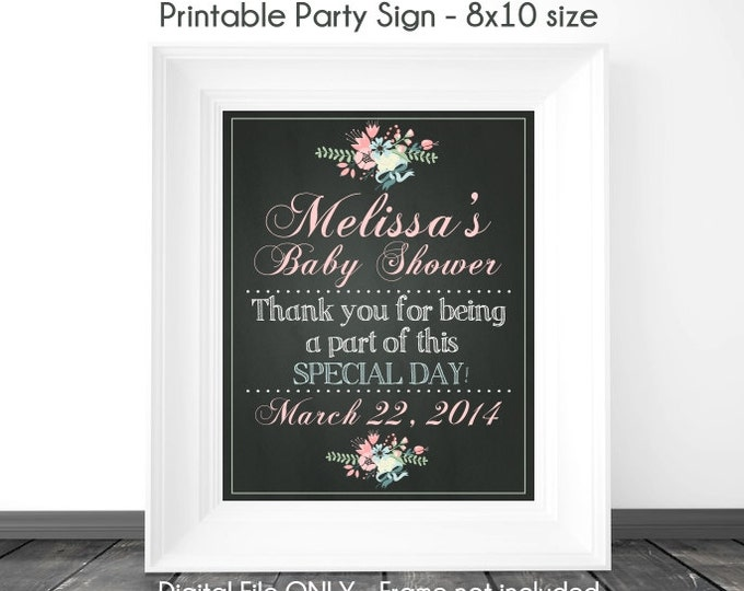Chalkboard Sign, Baby Shower Printable Sign, Baby Shower Chalkboard Printable Sign, Custom Baby Shower Sign, 8x10 or 16x20, YOU PRINT