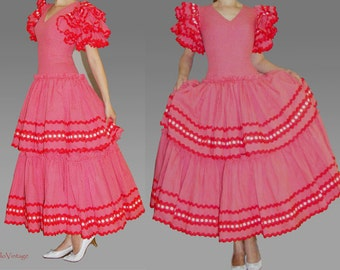 Flamenco dress, red with white polka dots, dancing dress, cotton