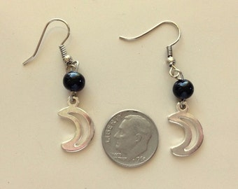 Moon and Star Earrings Dangle and Drop also  Large Black Bead Post/Stud Earrings -