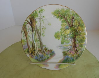 Mint Condition Beautiful Shelley Woodland Salad Plate in greens, pinks, blue and gold trim with Shelley back stamp # 13348