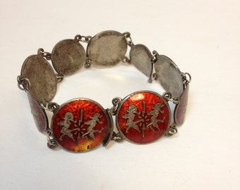 Vintage 1940's Sterling Silver and Enamel  Bracelet