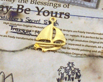 DIY  jewelry 12pcs  of antiqued gold sailing boat 22mm