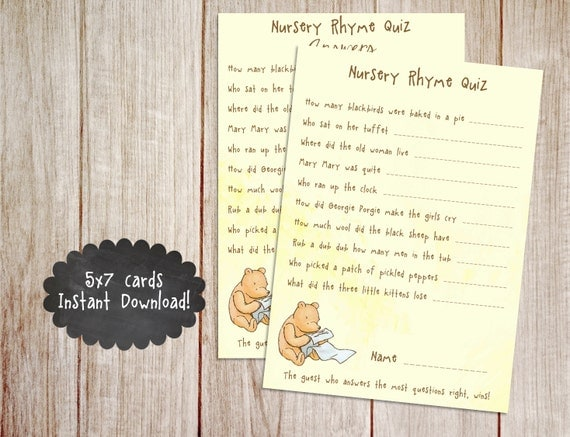 Printable Winnie The Pooh Baby Shower Game Classic Winnie The