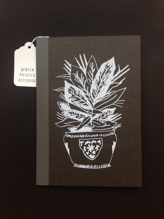 Screen Printed Small Notebook with Grid Paper