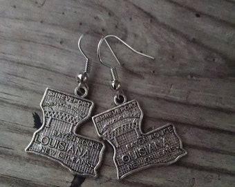 Silver State Louisiana Earrings - Louisiana - Nola - Baton Rouge - Birthday Gift