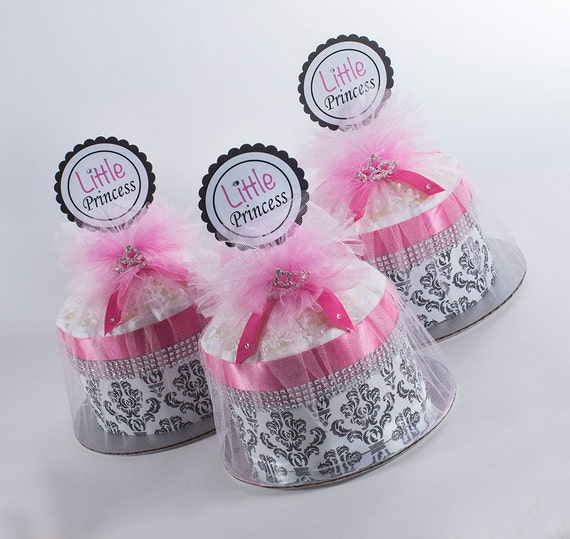 "Three  ""Little Princess"" Hot Pink/Black Damask Mini Diaper Cakes. Baby Shower Centerpieces."