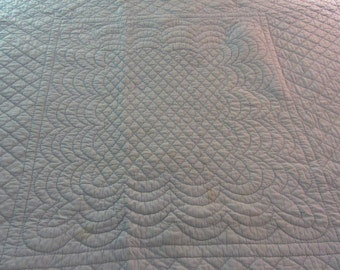 "REDUCED  //  Antique Whole Cloth Quilt  //  Rare Hand Quilted Whole Cloth Quilt  //  81"" X 75"" //  Scalloped Edge Quilt  //  Blue"