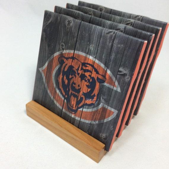 Handmade chicago bears drink coasters set of for Handmade drink coasters