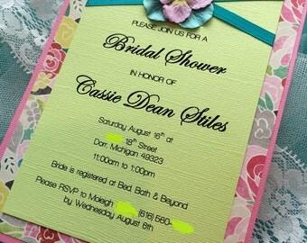FLORA - (30) Wedding/Bridal Shower Invitation - Customizable